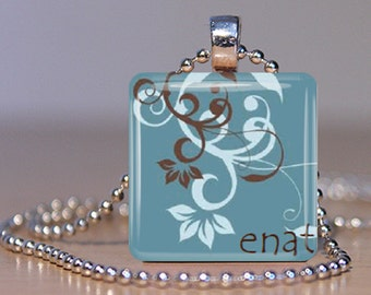 Enat (Mother in Amharic) Ethiopian Pendant - Your Choice of Color, Font and Personalization