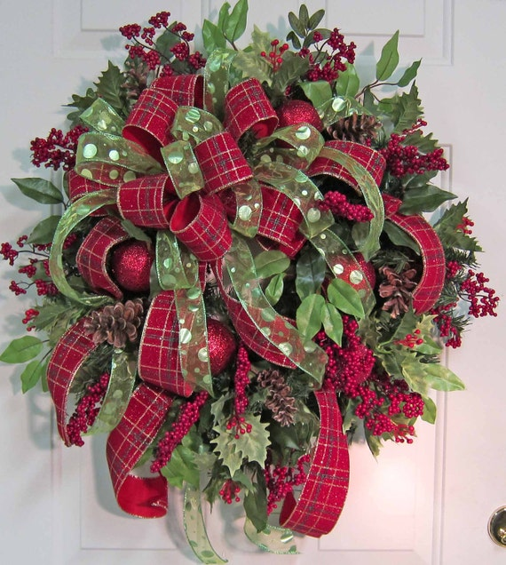 Christmas Wreaths For Double Front Doors: XL Gorgeous Christmas Door Wreath Outdoor Holiday Wreath