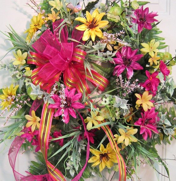 XL SUMMER Door Wreath Filled With Many Blossoms, So Bright, Bold, and Beautiful