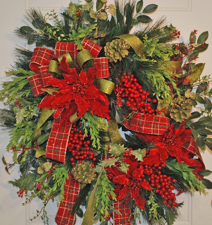 Christmas Wreaths For Double Front Doors: XL Christmas Door Wreath Red & Green Poinsettias Red Berries