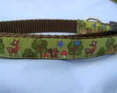 """Dog Collar- Forest Friends- Deer, Squirrel, Trees 5/8"""" wide"""