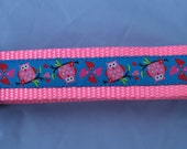 """Dog Collar- Pink Owls and Hearts (1"""" Wide)"""