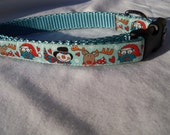 """Christmas/Winter Dog Collar- Owl, Snowman, Reindeer Blue 5/8"""" wide"""
