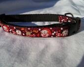 "Christmas/Winter Dog Collar- Owl, Snowman, Reindeer Maroon 5/8"" wide"