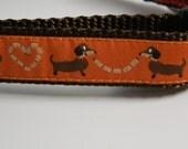 """Wiener Dog Collar- Dachshund Hot Dog Love Orange 3/4"""" wide"""