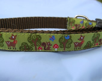 "Dog Collar- Forest Friends- Deer, Squirrel, Trees 5/8"" wide"