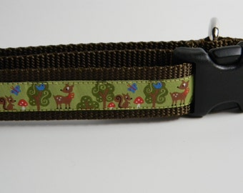 "Dog Collar- Forest Friends- Deer, Squirrel, Trees 1"" wide"