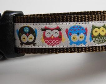 "Owl Dog Collar- Fat Little Owls 1"" wide- Cream"