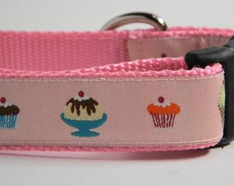 Dog Collar- Pink Ice Cream & Cupcakes