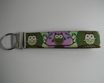 "Owl Key Fob- Cute Hoot Green & Purple  1"" Wide"