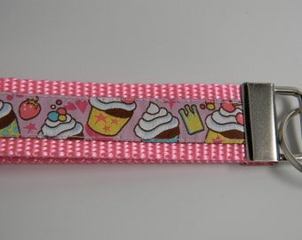 """Yummy Cupcakes Key Fob- Pink 1"""" Wide"""