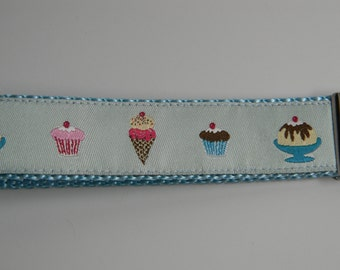 "Blue Ice Cream & Cupcakes Key Fob- 1"" Wide"