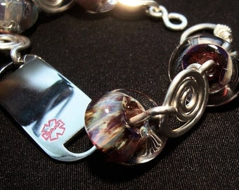 Argentium Silver and Lampwork Glass Medic Alert Bracelet, Sample Photo,  Custom Made to Order   Price is Approx.
