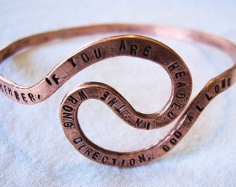 """Personalized Copper Bangle,  Memorial,  Quote,  """"The U-Turn,""""  Custom Made to Order"""