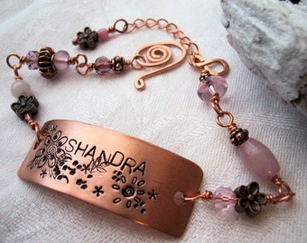 Personalized Hand-stamped Copper Bracelet,  Memorial Jewelry
