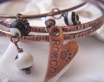 Copper Bangle Bracelet Set,  Pet Memorial,  Valentines Day, Custom,  Personalized