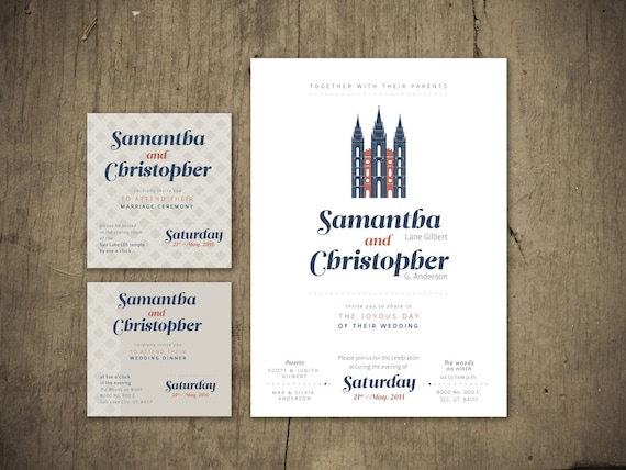 items similar to lds temple wedding invitation on etsy