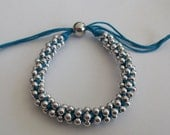 Braided Silver  Beaded  with Blue Cord Friendship Bracelet