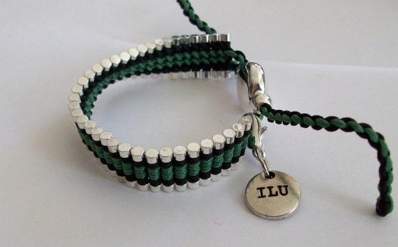 Silver Black and Green Friendship Bracelet