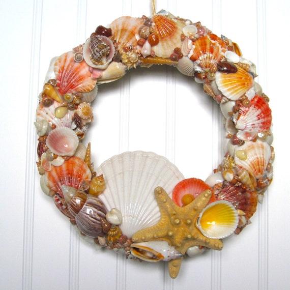 Day Glow Orange Seashell Wreath