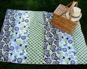 Picnic Blanket in Green, Black and White
