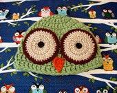 LIght Olive Green Owl Hat Animal Hat Baby Boy Hat Ready to Ship SIZE Baby 6-12 months