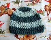 Teal and Light Blue Organic Cotton Baby Boy Hat  - Ready to Ship SIZE Baby Hat 3-6  Months