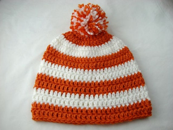 Orange and White Striped Adult Hat SF Giants Beanie Hat - Ready to Ship