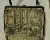 Vintage TAPESTRY Handbag Purse Carpet Bag Musical Theme w/ Harp, Violin, Cello