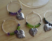 Reserved listing: Vineyard Wine Charms, Set of 4, Silver Plated Wires