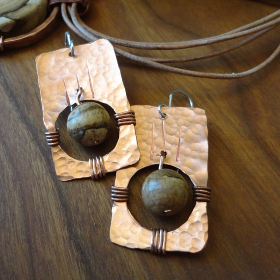 Zia Earrings - Copper & Picture Jasper on Sterling Silver Wires