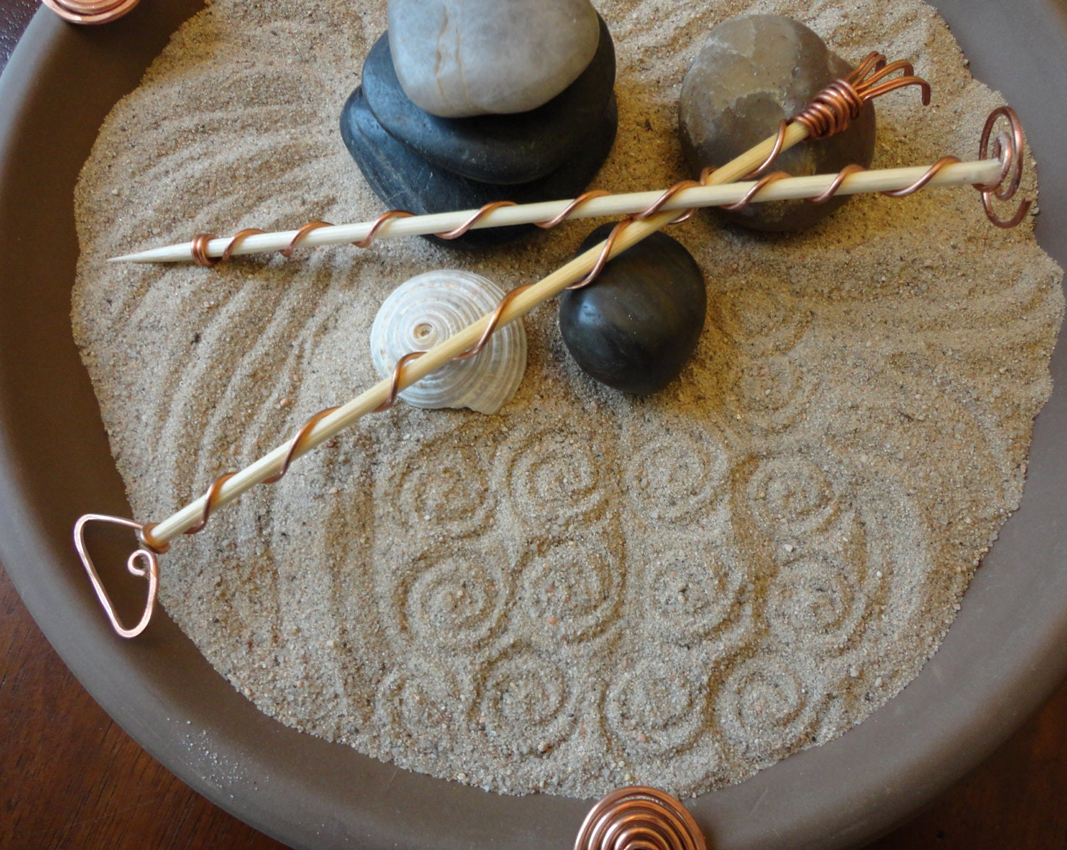 Tabletop zen garden chocolate brown for Table zen garden