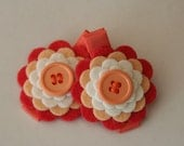 Felt Flower Hair Clips in Peach and Coral for Baby Toddler and Girls