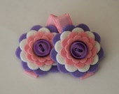 Baby Hair Clips in Wool Felt Pink and Purple Flowers Toddler Hair Clips Girls Hair Clips