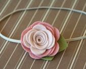 Felt Flower Headband Blush Rose for Baby Toddler and Girls