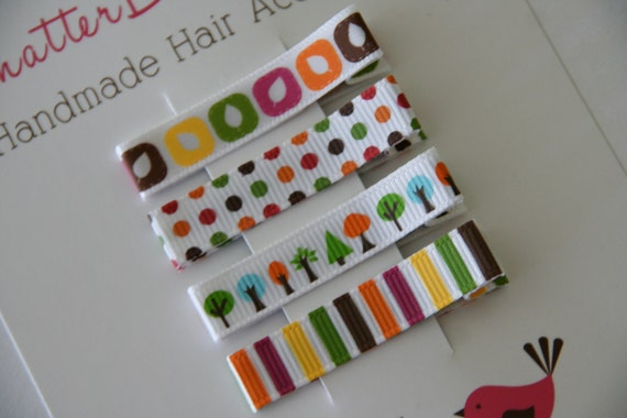 Girls Hair Clips Everyday Alligator Clip Set Leaves and Trees