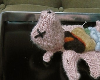 Knitted Fetal Pig in a Dissection Tray