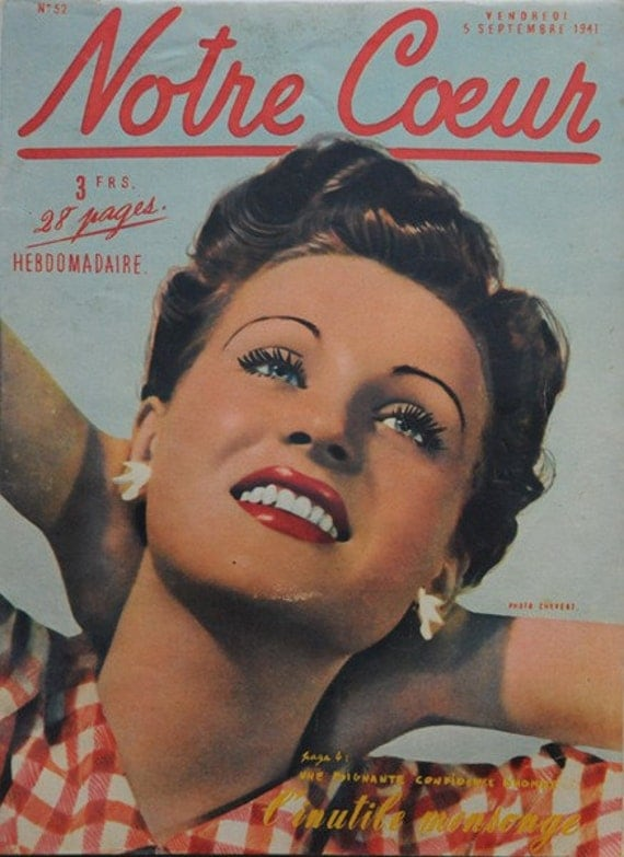 Vintage French 1941 magazine Notre Coeur