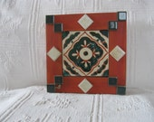 Authentic  Mexican Tiled Trivet in Shades of Terra Cotta, Cream and Deep Green