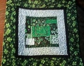 St Patricks Day Table topper  Black, Green with gold Glitter