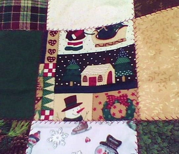 Holiday Quilted Patch bag...green, red, gold and brown prints