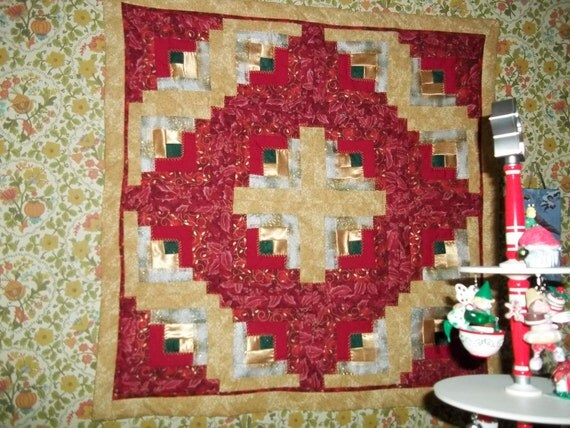 Christmas Red and Gold Wall Hanging, Table Topper