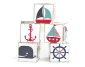 Nautical Nursery Sailboat Wooden Blocks