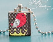 SONG BIRD (Red and Brown) -Jewelry pendant necklace gift present handmade by frilly chili. Art charm Jewelry.