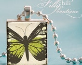 BUTTERFLY -Jewelry pendant/charm necklace handmade by frilly chili. Art charm Jewelry gift or present.