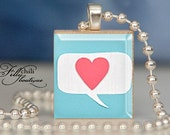 LOVE SPEAKS - Jewelry pendant/charm necklace handmade by frilly chili. Art charm Jewelry gift or present.