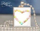 Candy Heart: Jewelry pendant/charm necklace handmade by frilly chili. Art charm Jewelry gift or present.