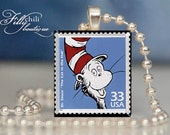 The Cat in The Hat #2 (Dr. Seuss) - Pendant from a Scrabble Game Tile with Ball Chain Necklace, handmade by Frilly Chili