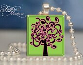 Tree of Inspiration:Jewelry pendant/charm necklace handmade by frilly chili. Art charm Jewelry gift or present.