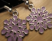 Christmas Holiday Snowflake earrings/purple